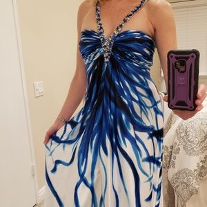 Size 4 Cache blue and white satin formal dress